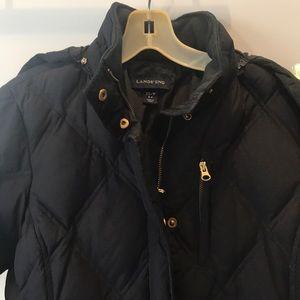 Lands' End Black Long Goose Down Puffer Jacket